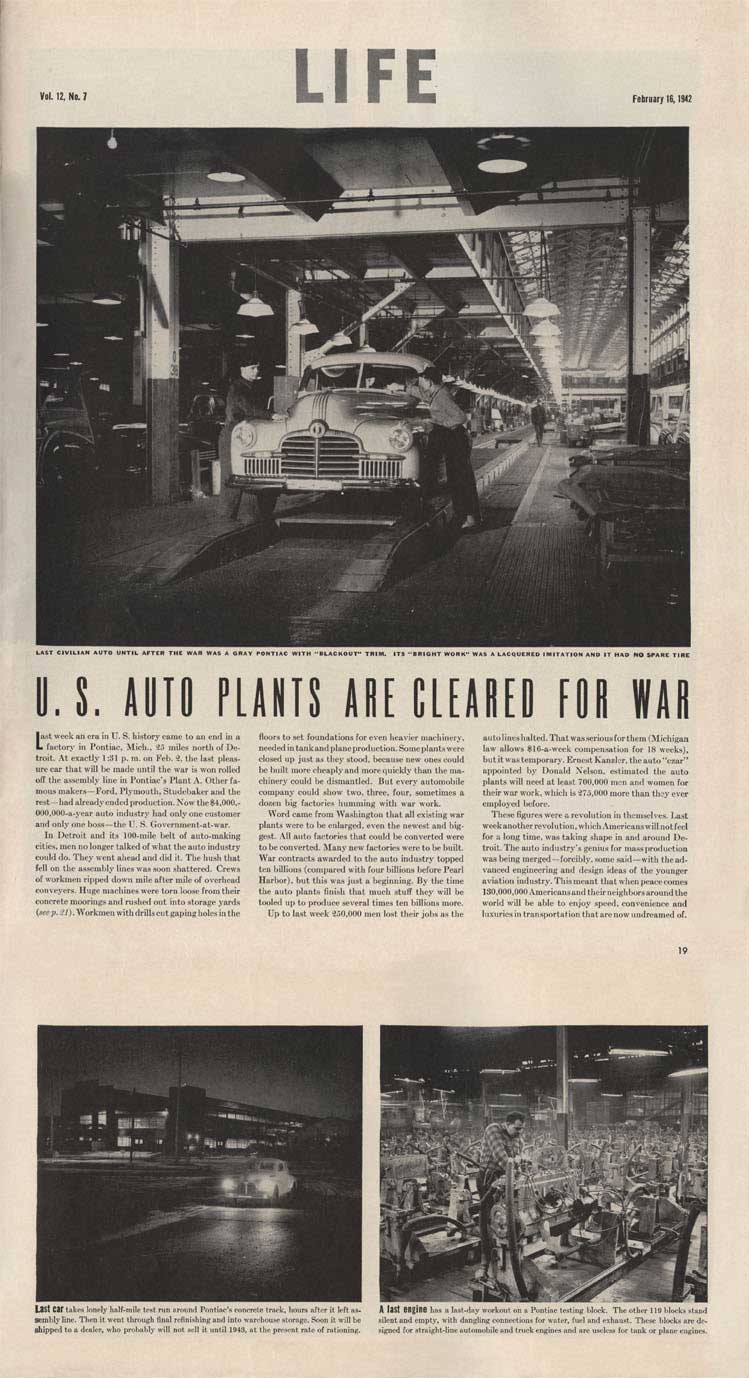 1942 Life Magazine US Auto Plants cleared for War